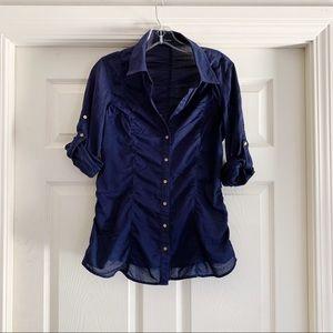 Blue Express Roll Tab Sleeve Button Down Shirt A28